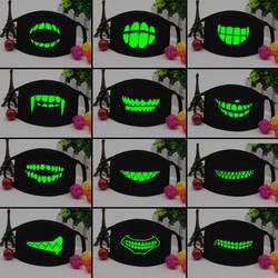 Мужская и женская черная светящаяся маска для лица Скелет для верховой езды череп Анти Пыль зубы рот маска модные зубы лицо светящаяся
