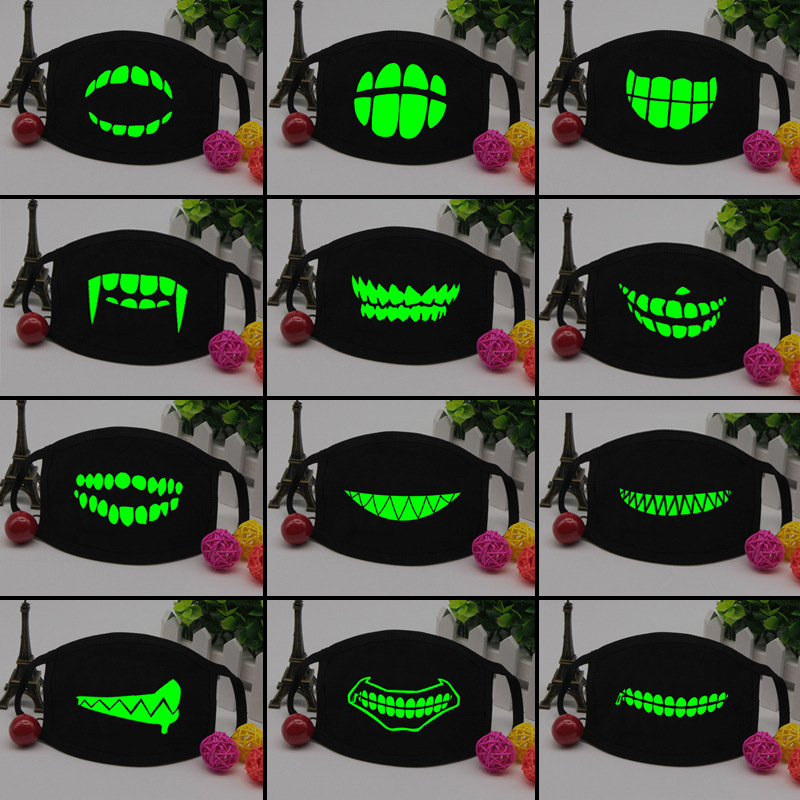 Men Women Black Luminous Face Mask Skeleton Riding Skull Anti Dust Teeth Mouth Mask Fashion Teeth Face Glow Mask