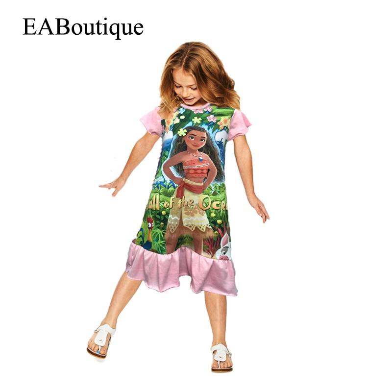 Moana eaboutique estilo 100% algodón 4 diseños de los niños vestido de verano pr