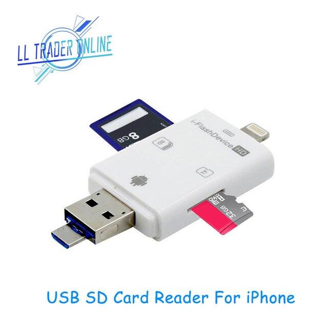 LL تاجر i Flash Drive متعدد بطاقة OTG قارئ HD مايكرو SD و TF ذاكرة USB محوّل قارئ البطاقات لجهاز iPhone 8/Andriod/PC