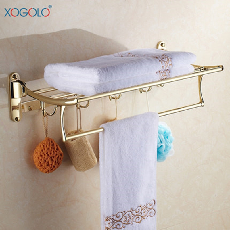 Xogolo Movable Bath Towel Holder With Bars Fashion Gold Towel Hanger Shelf Stainless Steel Towel Rack Bathroom Accessories modern chrome fixed bath towel holder with hooks stainless steel towel rack holder for hotel or home bathroom storage rack shelf
