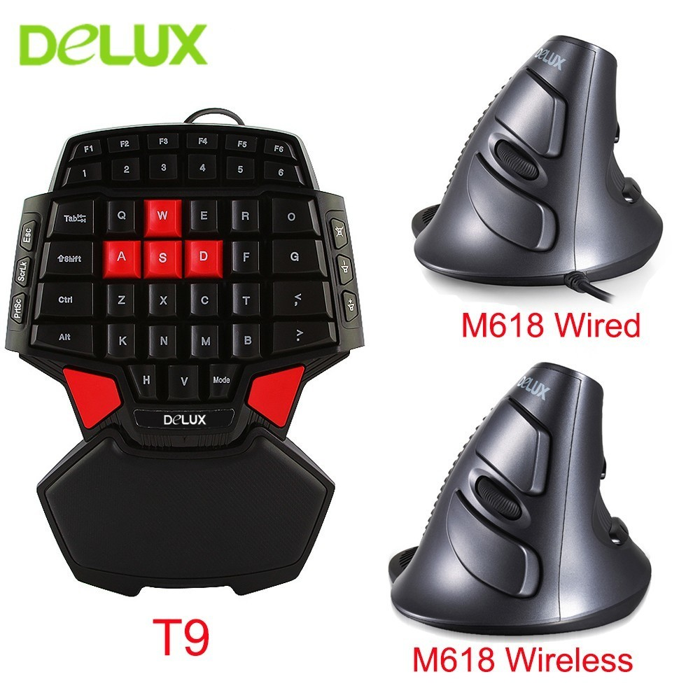 82de250e8b8 Delux Wired Mouse Keyboard Combos Ergonomic Single Hand T9 Mini Gaming  Keypad With Optical M618 Vertical Mice Kit For PC Laptop