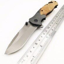 цены на JSSQ X50 Folding Knife Wood Handle 440C Blade Tactical Rescue Pocket Knives Camping Survival Hunting Combat Multi EDC Tools OEM  в интернет-магазинах