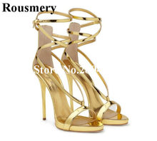 6d80be4d50 Rousmery Tira Sapatos de Couro Mulheres Patente Estreita Faixa de Ouro com  Tira No Tornozelo Stiletto Salto Alto Mulheres Verão .