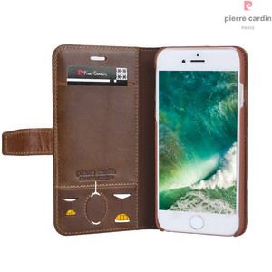 Image 5 - Pierre Cardin Brand For Apple iPhone 8 7 Plus Phone Case Genuine Leather Magnetic Book Style Flip Stand Wallet Card Holder Cover