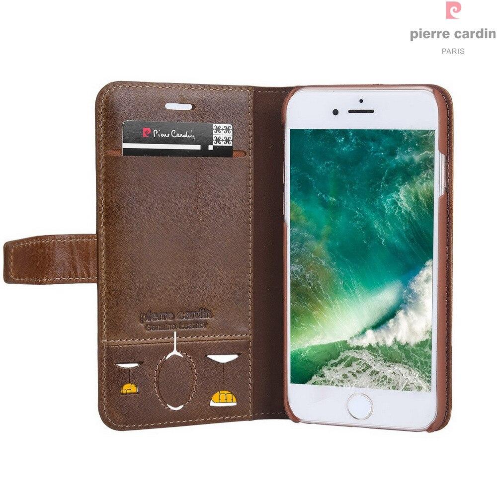 Pierre Cardin Marque Pour Apple iPhone 8 7 Plus coque de téléphone En Cuir Véritable De Style Livre Magnétique Étui Portefeuille porte-carte Couverture - 6