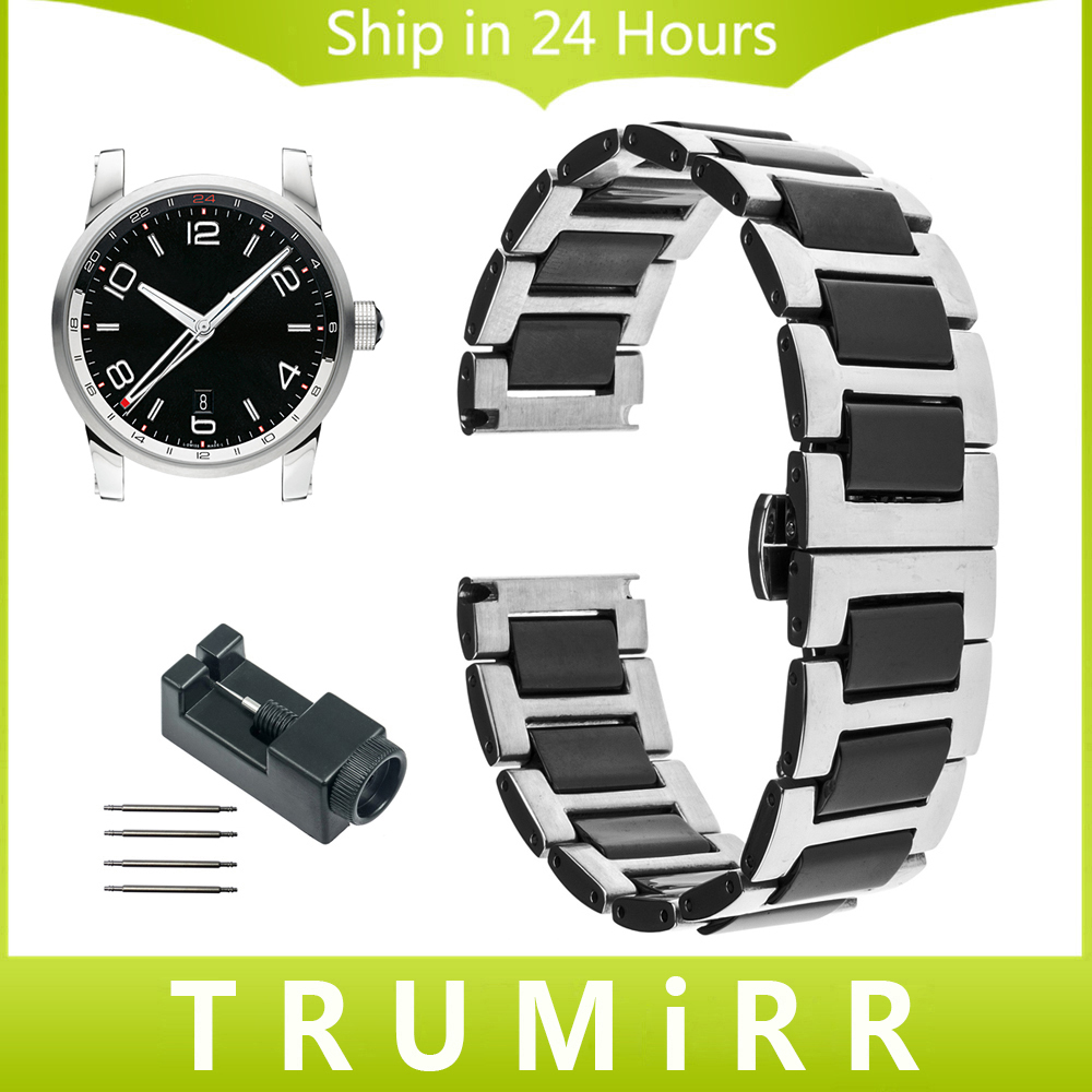 18mm 20mm 22mm Ceramic + Stainless Steel Watch Band For Montblanc Men Women  Star Timewalker Butterfly