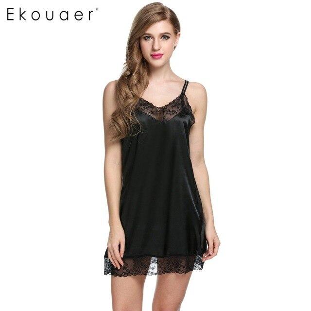 728c3c182 Ekouaer Women Nightdress Sexy Sleepwear Satin Nightgown Chemise Slip  Nightdress Back Cross Nightie Dress Female Home Clothing