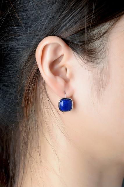 Dormith real 925 sterling silver earrings 10*10 Natural Lapis Gemstone drop earrings for women jewelry earrings