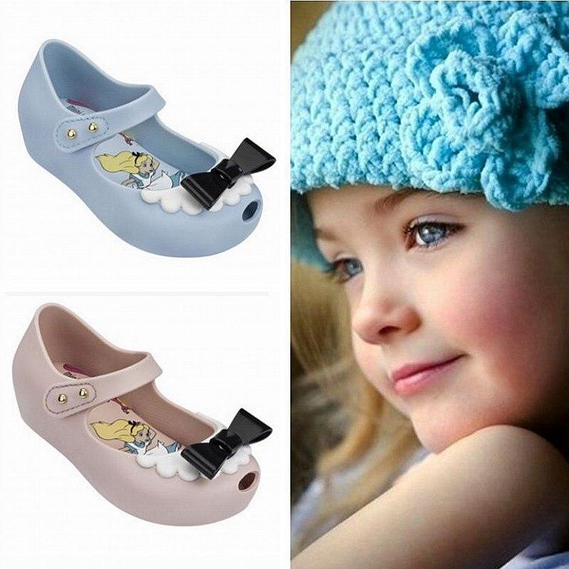 Toddler Girls Sandals 2020 Princess Bow Jelly Flats Mini Alice Nude/blue Pvc Plastic Rain Shoes Kids Ballerina Pumps