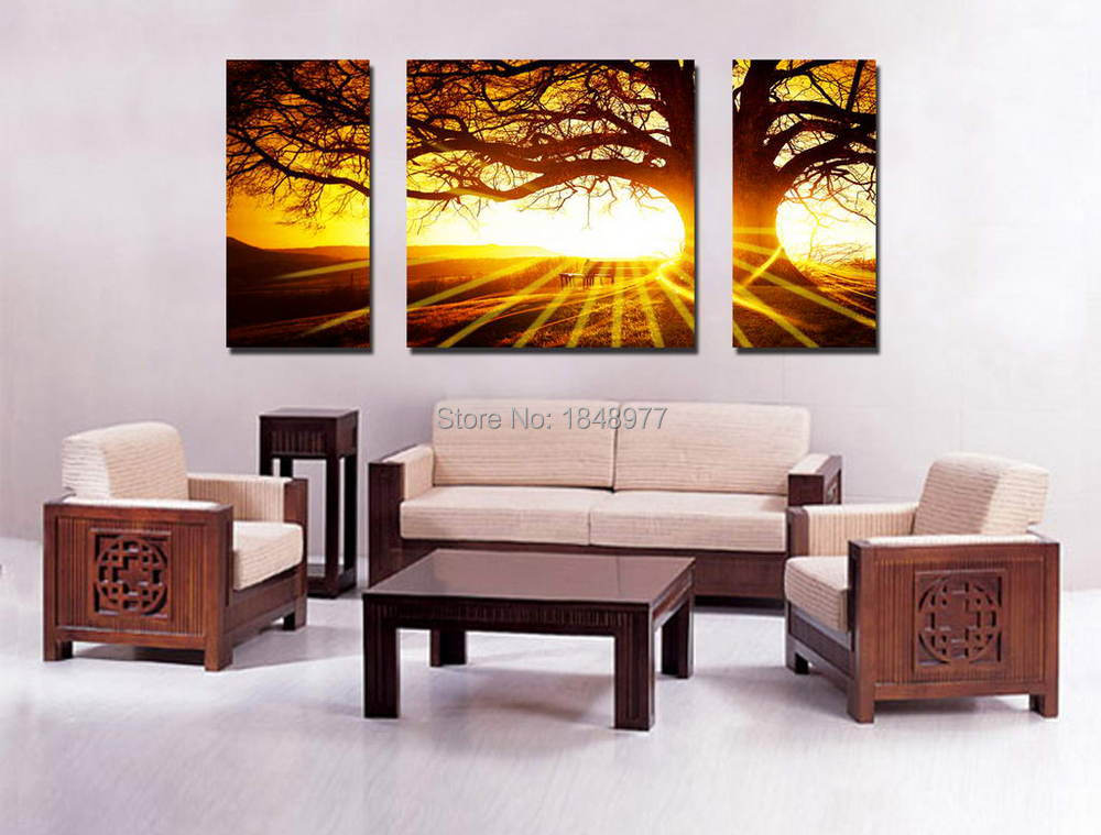 Panel cheap modern hd picture home decor the setting sun and