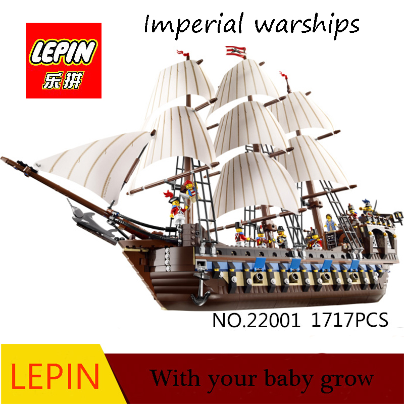 DHL LEPIN 22001 Pirate Ship warships Model Building Kits Block Briks Boy Educational Toys Model Gift 1717pcs Compatible 10210 lepin 22001 imperial warships 16002 metal beard s sea cow model building kits blocks bricks toys gift clone 70810 10210