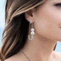 Monaco Paper clips Pin Design Pearl Earrings For Women pure 925 sterling silver Earrings Jewelry pendientes mujer moda 2018