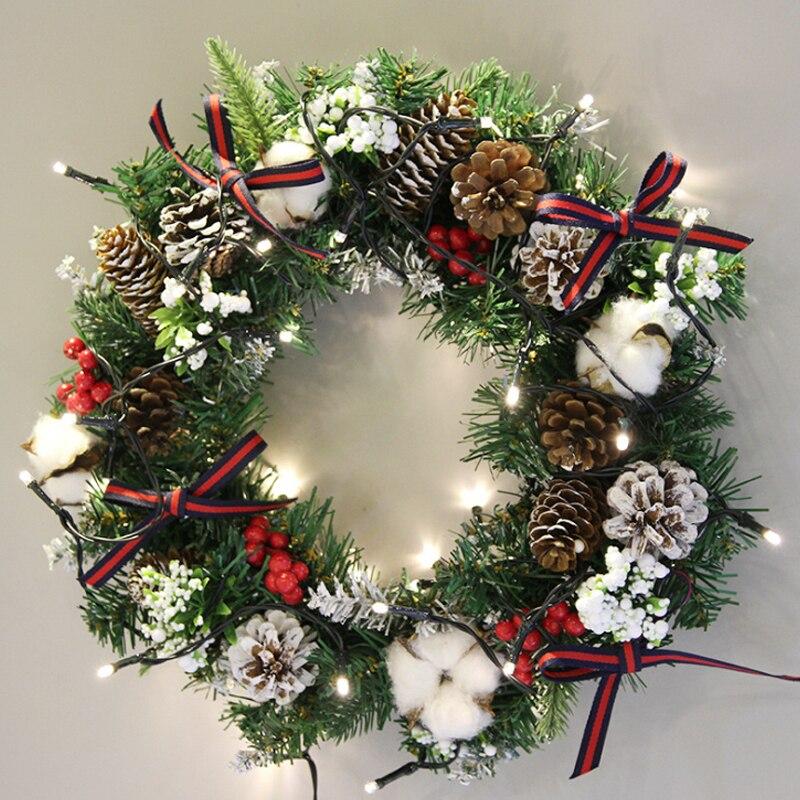 Guirlande de noël guirlande vert rotin cadeaux fournitures nouvel an ornement festif romantique bijoux décoration de la maison pour une famille heureuse
