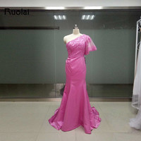 Real Sample New One Shoulder Hot Pink Prom Dresses Long Appliques Beads Satin Mermaid Evening Dresses