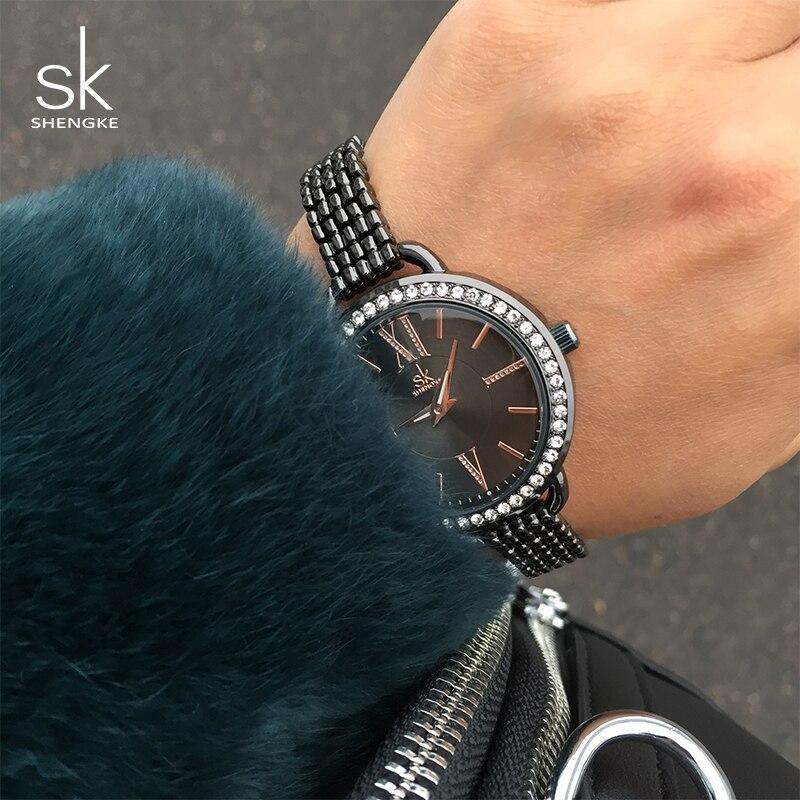 Shengke Bracelet Watches Women Luxury Crystal Ladies Quartz Watch Relogio Feminino 2019 SK Fashion Watches For Women #K0089