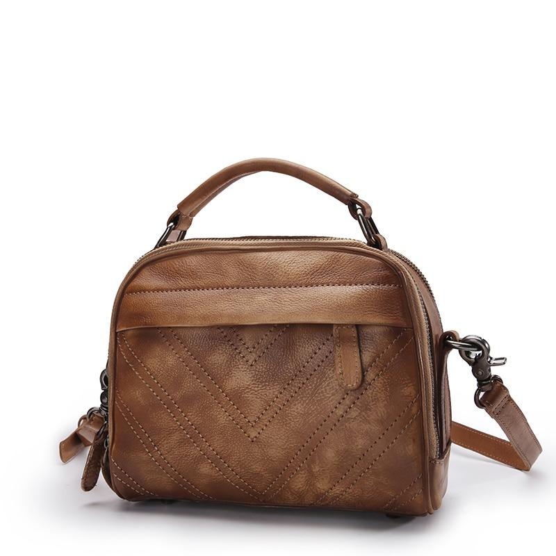все цены на Vintage Color-mixing Designer Genuine Leather Women's Small Street Bag Real Cowhide Retro Female Cross Shoulder Bag Handbag онлайн