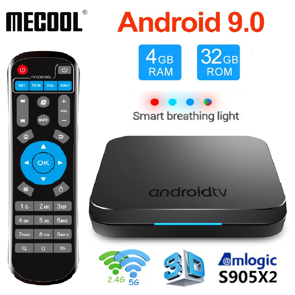 Boîtier TV intelligent MECOOL KM9 DDR4 Android 9.0 Amlogic S905X2 4GB 64GB 32GB USB3.0 4K H.265 2.4G 5GHz double Wifi BT4.1 ATV décodeur