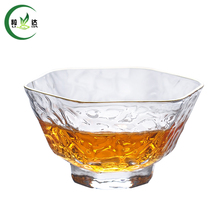 60ml Heat-Resistant High Quality Glass Tea Cup With Hexagon-Shaped Golden Border Malleolar Stria Green Tea Tie Guan Yin Tea Cup(China)