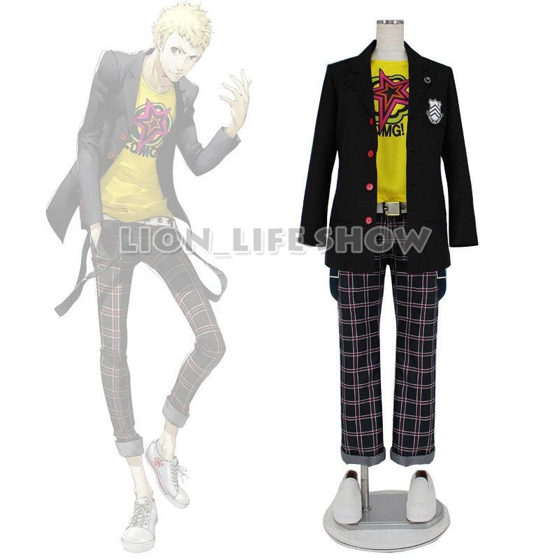 game Persona 5 Ryuji Sakamoto Shujin School Uniform Outfit Cosplay Costume Full Set