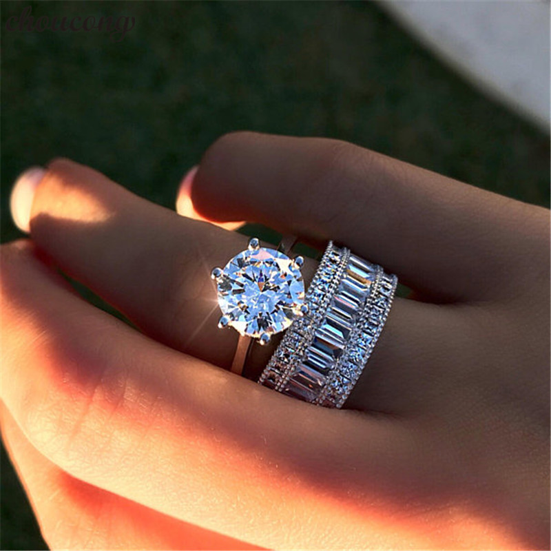choucong Luxury solitaire ring set 925 sterling Silver AAAAA Zircon Sona cz Engagement Wedding Band Rings For Women men Jewelry men wedding band cz rings jewelry silver color anillos bague aneis ringen promise couple engagement rings for women