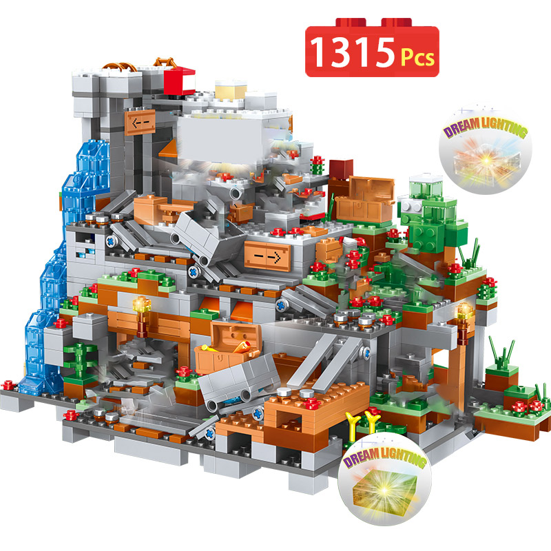 1315PCS New Blocks Compatible Legoingly Minecrafted Organs Of The Cave Building Blocks Castle Village Series Toys For Children-in Blocks from Toys & Hobbies    1