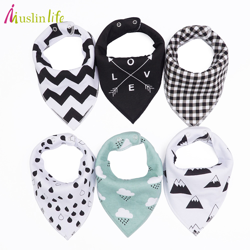 Muslinlife 20 styles 4pcs/lot Baby Bibs Burp Cloth Fashion Print Arrow Triangle 2layer Baby Bibs Cotton Bandana Accessories rope print satin bandana