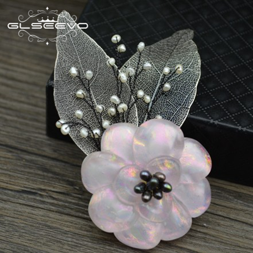 GLSEEVO Natural Fresh Water White Black Pearl Brooch Pins Pink Glaze Flower Brooches For Women Dual Use Luxury Jewelry GO0276 купить недорого в Москве