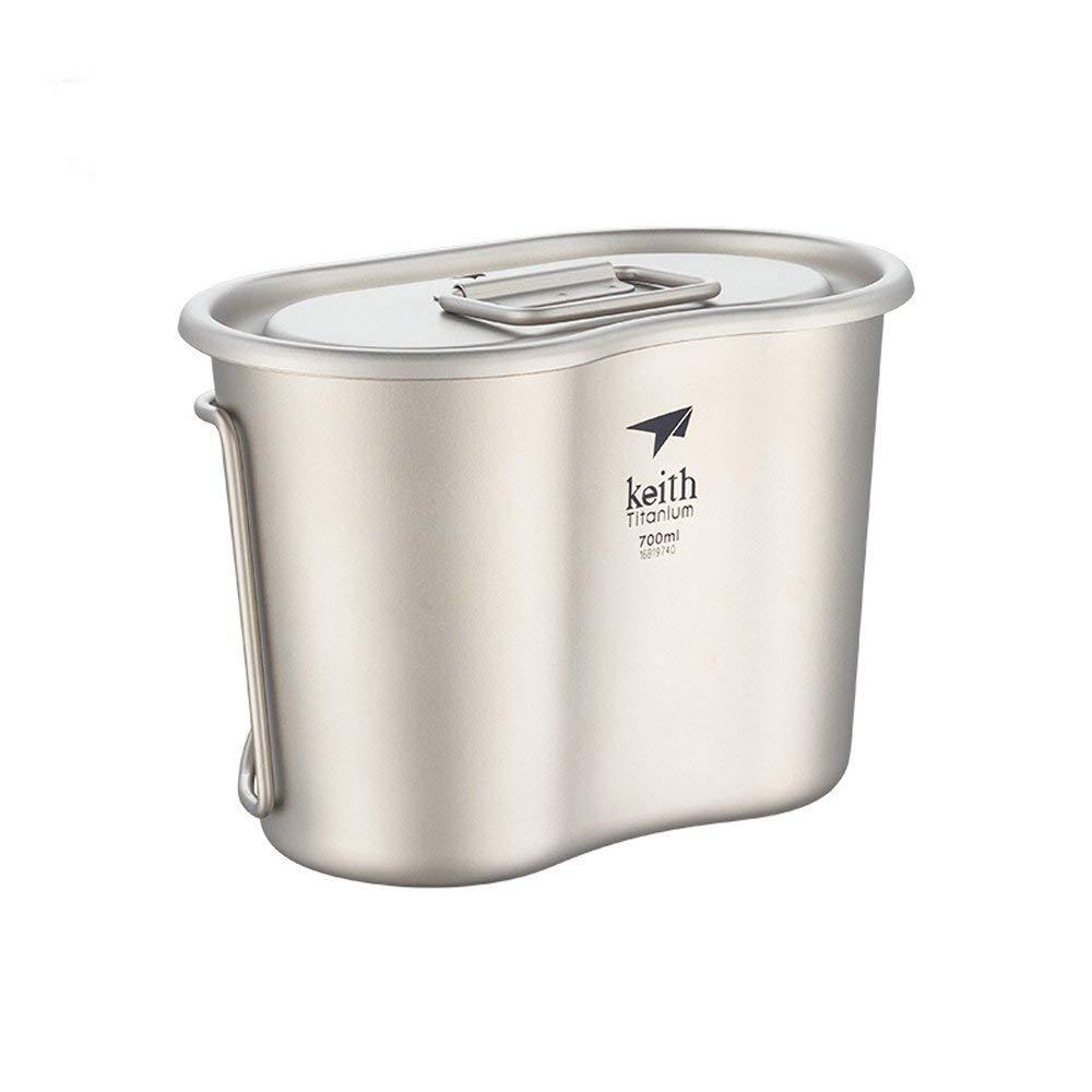 Keith 700ml Titanium Military Lunch Box Camping Canteen Cup with Lid