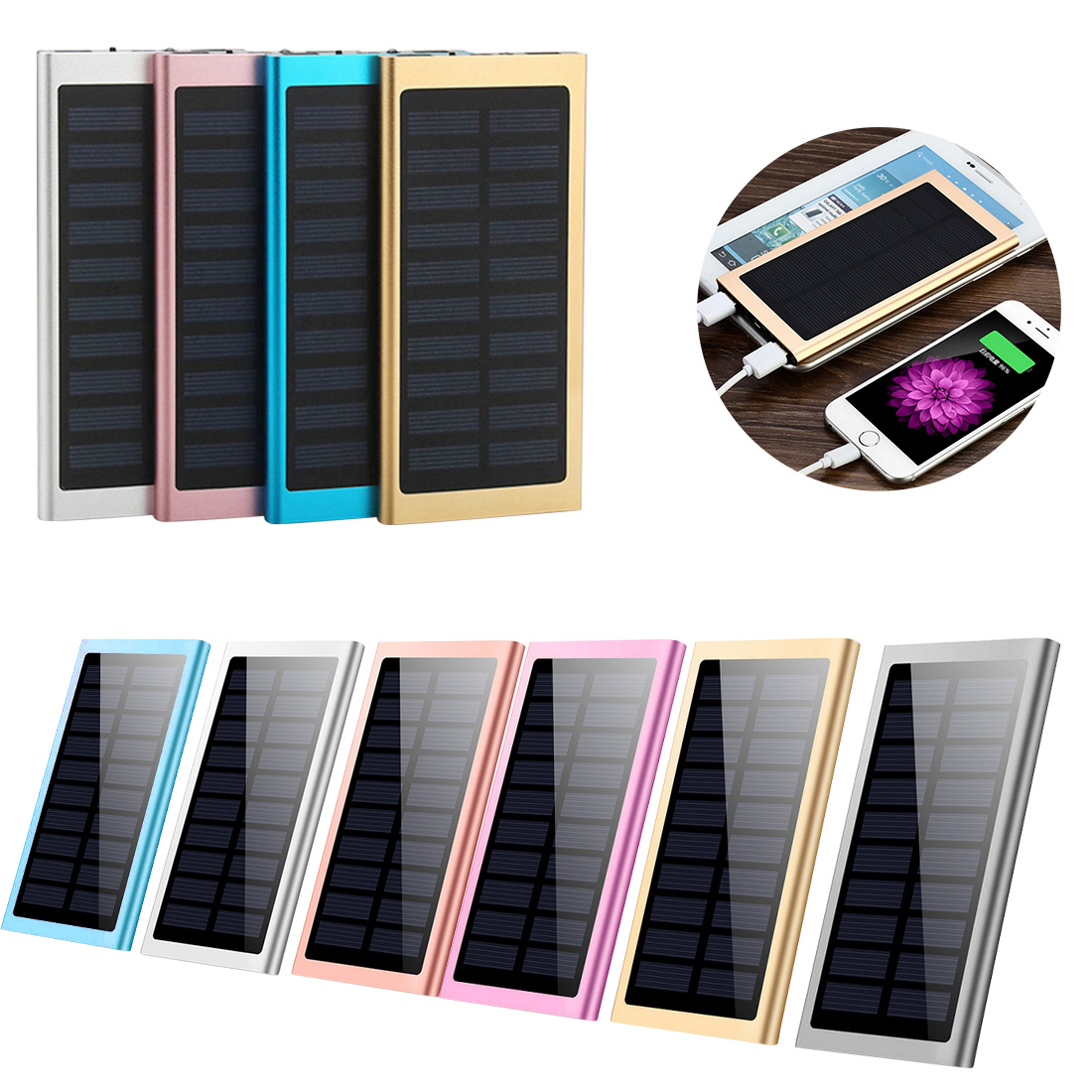 Solar Power Bank 20000mAh Dual USB Output Ultra-thin Solar Mobile Power External Polymer Battery Charger Outdoor Light Powerbank цена