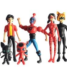 6 Joaninha pçs/set Milagrosa e Cat Noir Juguetes Comic Lady bug Boneca Figura de Ação Brinquedos de Vinil Bonito Anime Para Crianças