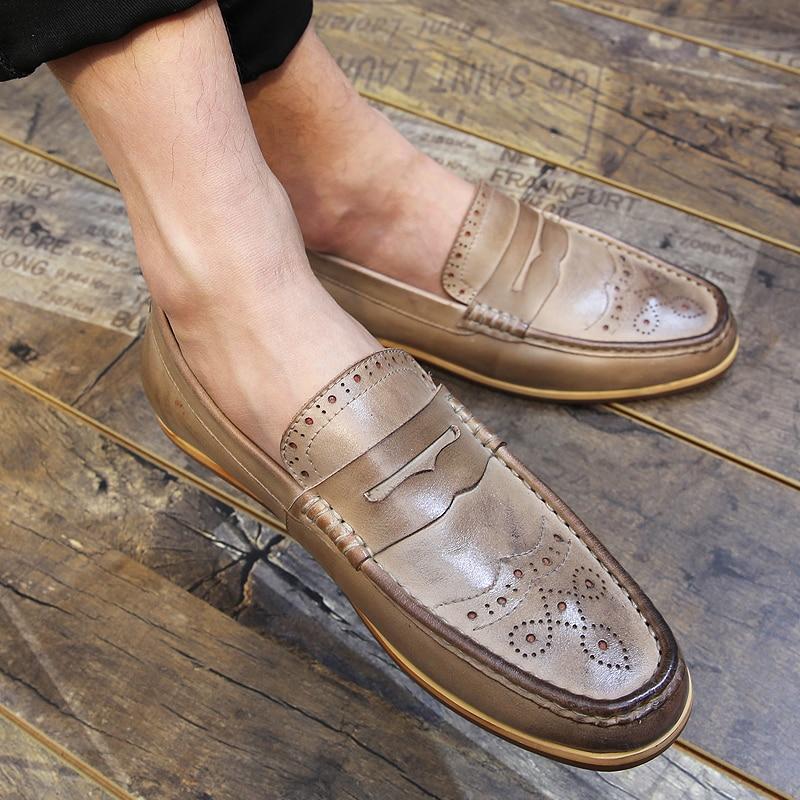 ФОТО Summer New England doug men leather Bullock men's shoes fashion boat shoes genuine brogue shoes loafers flats