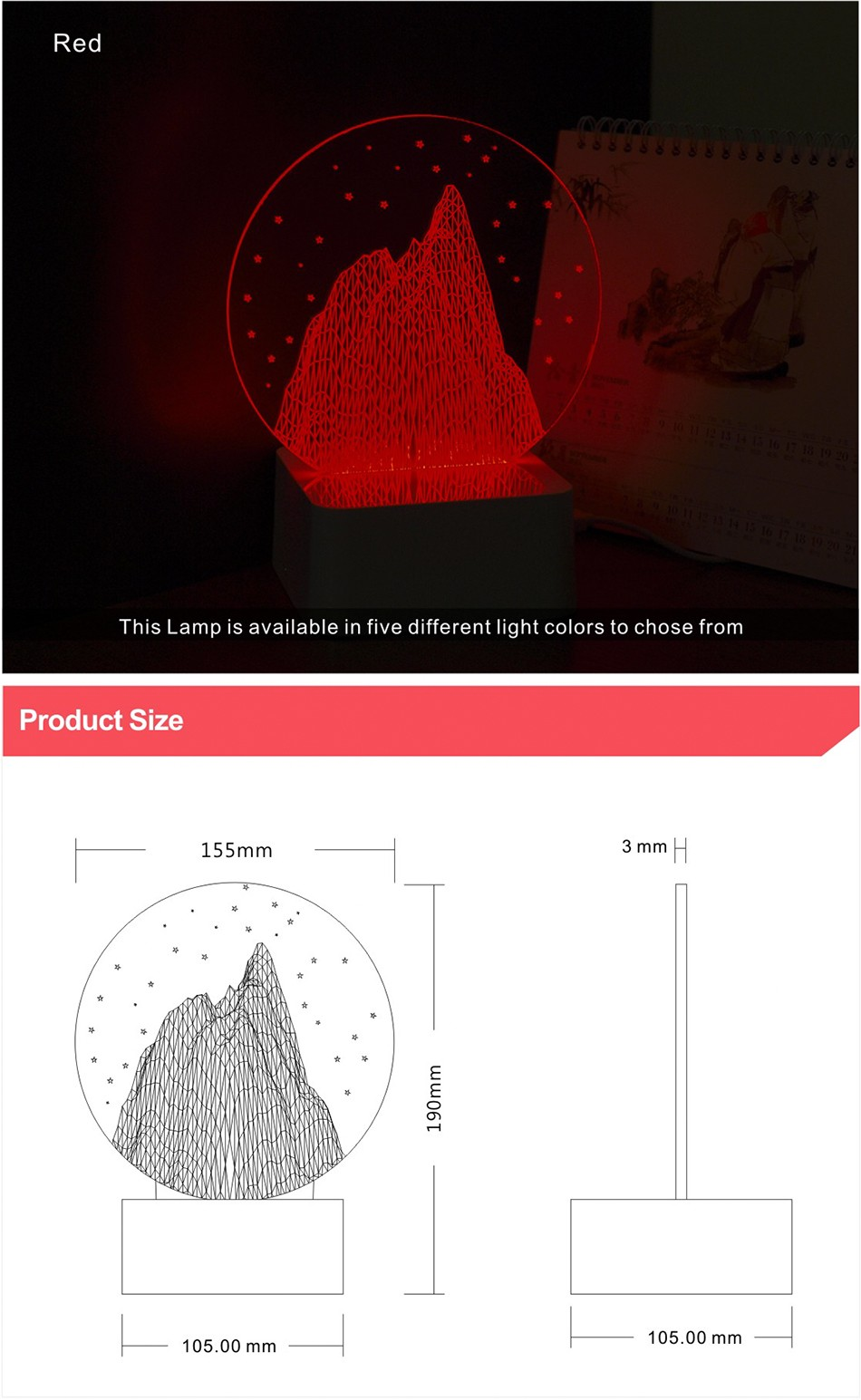 Kids Gift Round Crystal Modern Mountain Nordic Controler Bedside Lava Lamp 3d LED Night Lights (5)