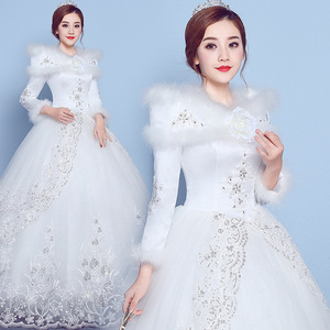 Image 3 - VLNUO NISA 긴 소매 겨울 웨딩 드레스와 목도리 레이스 Appliques 스팽글 보이지 않는 지퍼 신부 가운 Vestido De Novias 20
