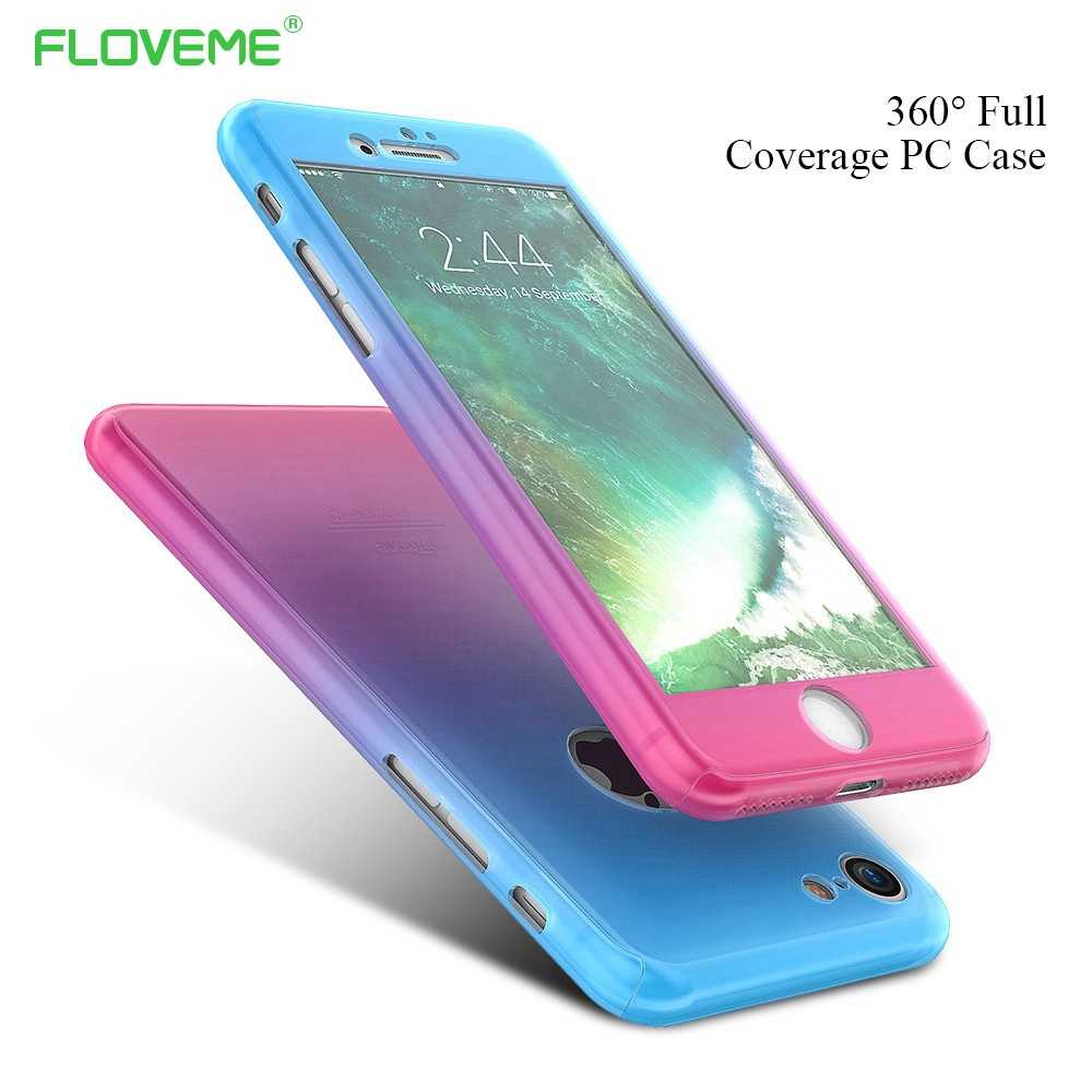 FLOVEME 360 grados cobertura total gradiente caja de color caramelo para iPhone 7 6s 6 funda femenina funda para el iPhone 7 6s 6 Plus conchas