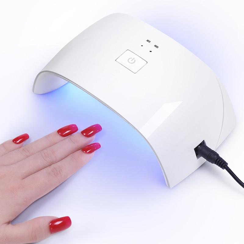 6W/24W/36W White Nail Dryer Machine UV LED Lamp Portable USB Cable Home Use Nail UV Gel Varnish Dryer Lamp Nail Art Tools