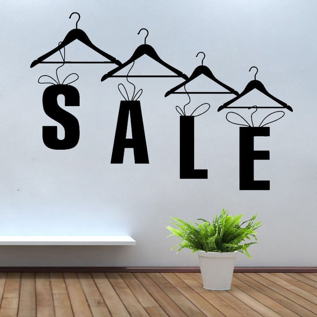Fashion Clothing Store SALE Quotes Hanger Window Vinyl Wall Sticker Home Decor Removable Self adhesive Mural Wallpaper FS01