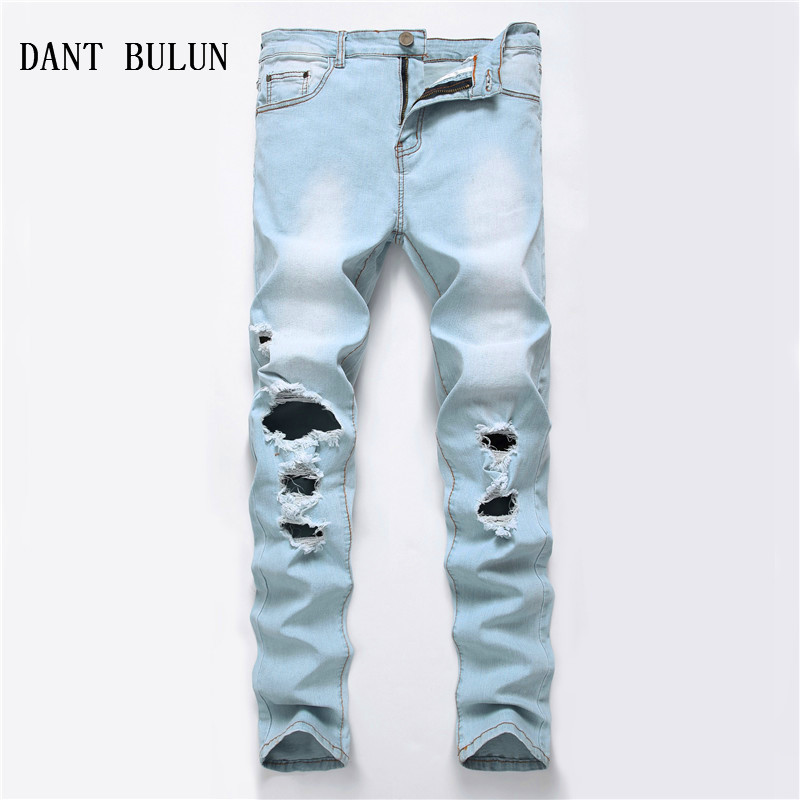 DANT BULUN New Ripped Jeans Men Hi-Street Mens Distressed Slim Fit Skinny Casual Blue Denim Knee Holes Washed Plus Size Jeans