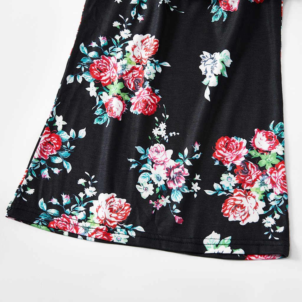 Serbatoio increspato vestiti da madre figlia mamma e me i vestiti del fiore mamma mamma mamma e bambino delle ragazze della famiglia del vestito di corrispondenza abiti guardare