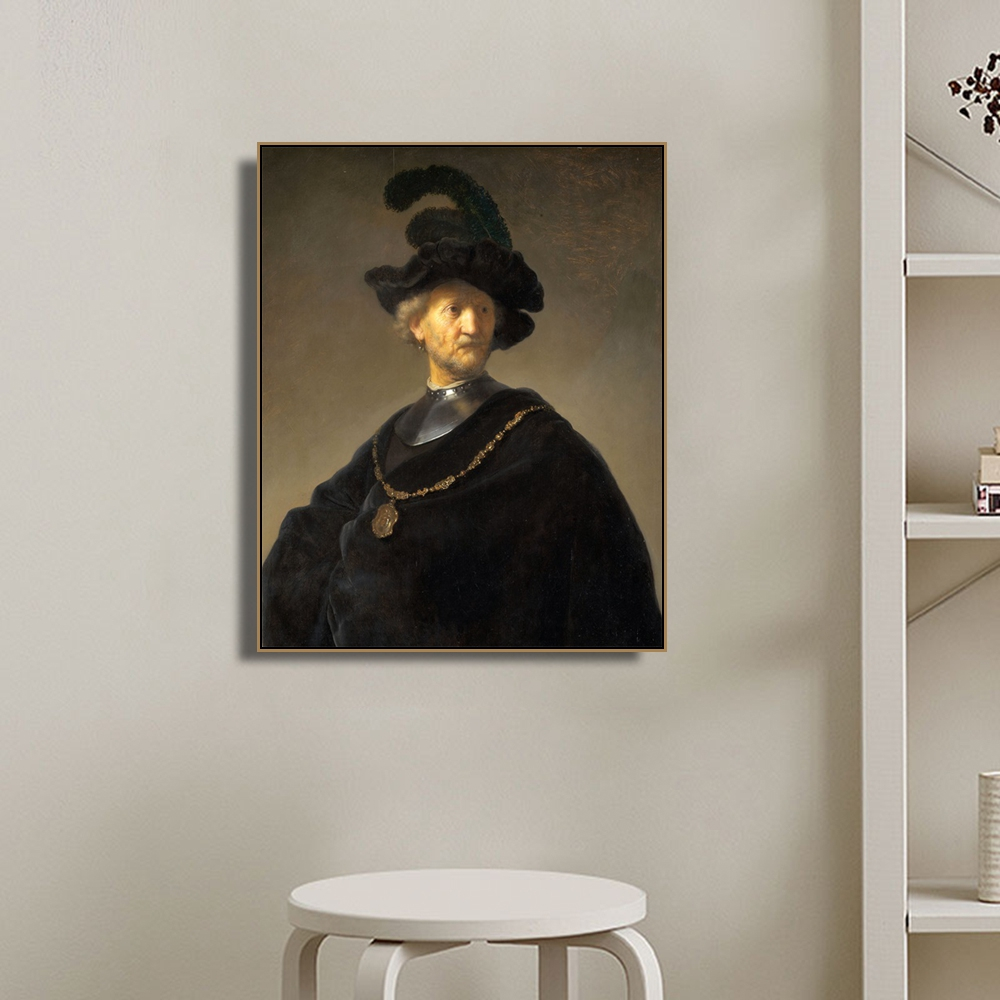 Old Man by Van Rijn Decoration Wall Art Canvas Poster and Print Canvas Painting Decorative Picture for Living Room Home Decor in Painting Calligraphy from Home Garden