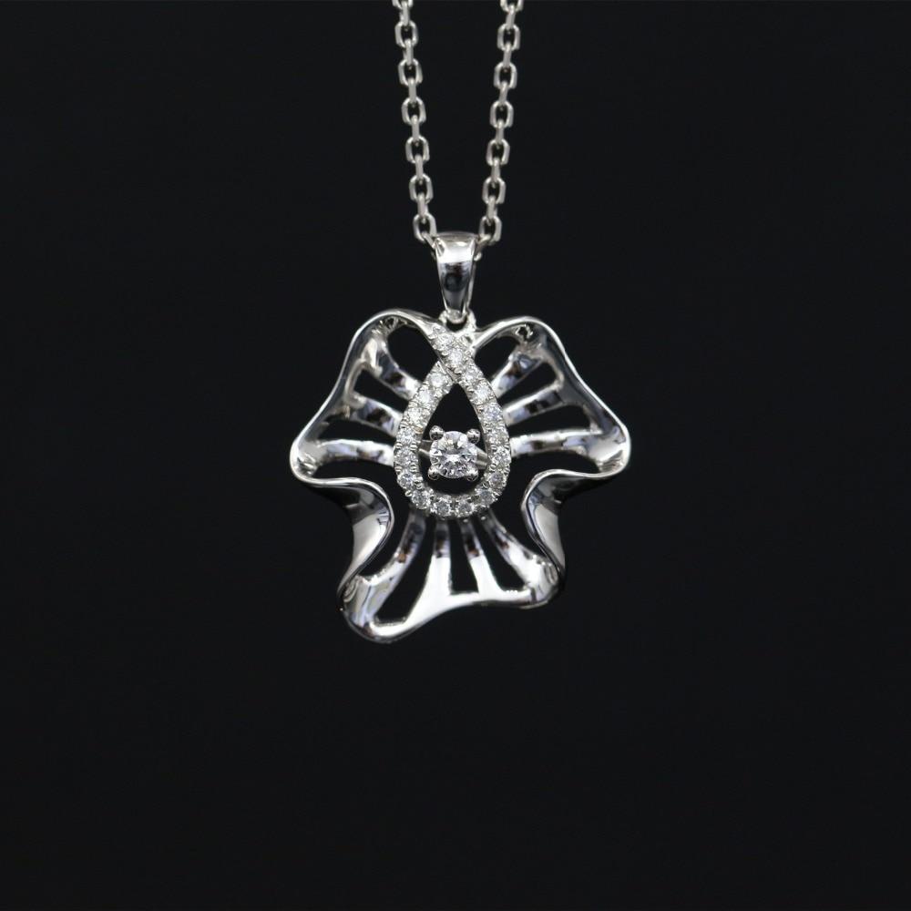 LASAMERO Halo 0.058CT 18k Gold Round Cut Square Center Pave Set Natural Diamond Pendant Necklace Chain Women Fine Jewelry