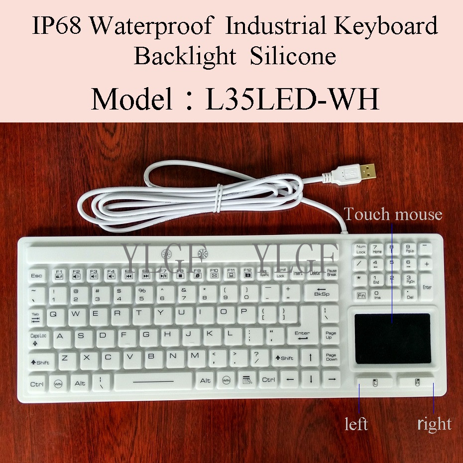 YLGF   L35LED-WH  IP67, IP68, Waterproof keyboard, industrial keyboard, silicone, light, backlight, embedded,LED backlight metal keyboard ylgf ps 2 super mini embedded industrial key waterproof ip65 dust anti violence stainless steel ring