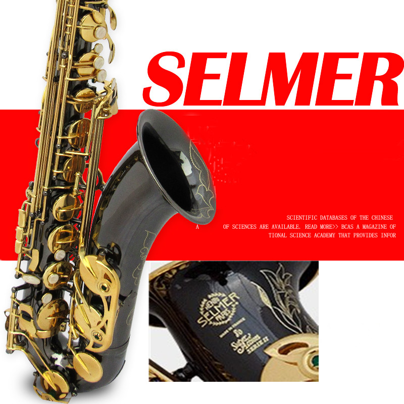 Brand New Genuine France Selmer Tenor Saxophone 802 Professional bB Black Nickel Gold Sax mouthpiece With Case and Accessories bb f tenor trombone lacquer brass body with plastic case and mouthpiece musical instruments