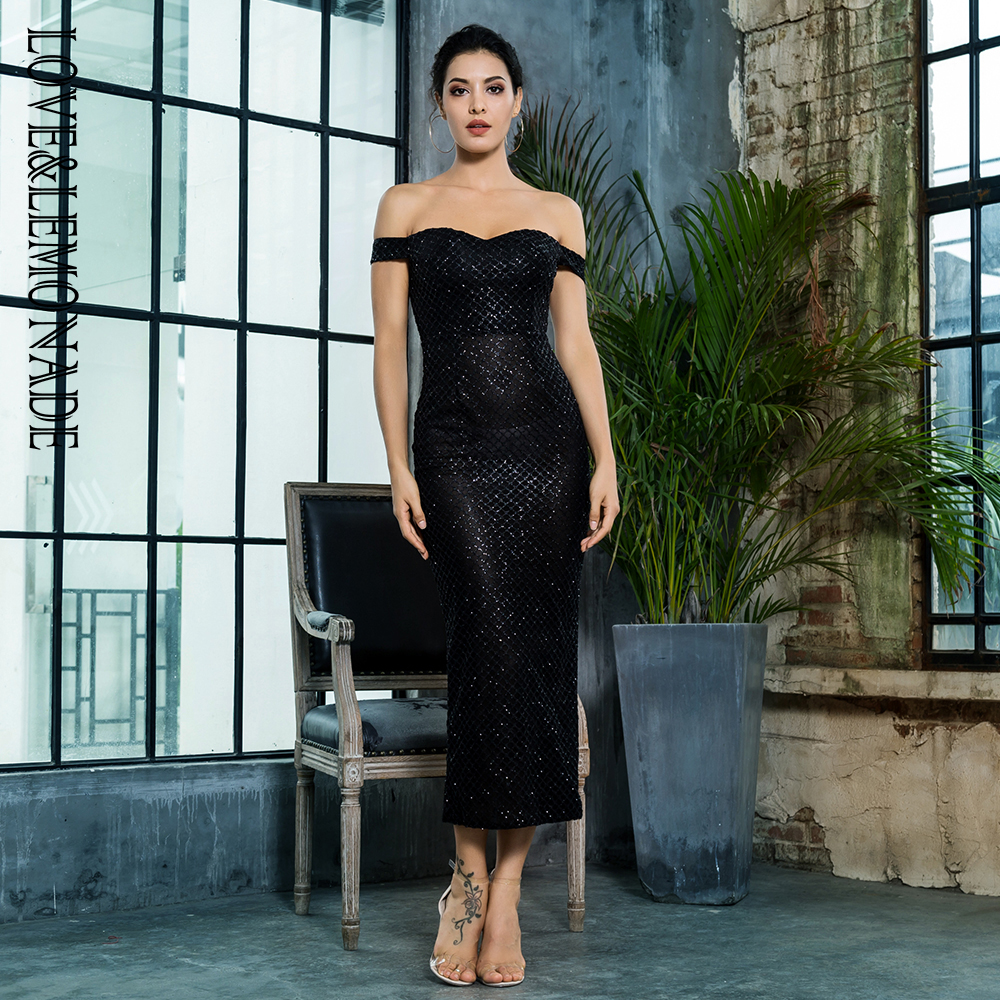 Love Lemonade Black Off the Shoulder Open Back Plating Glue Material Party  Dress LM81349BLACK-in Dresses from Women s Clothing on Aliexpress.com  662024dabc35