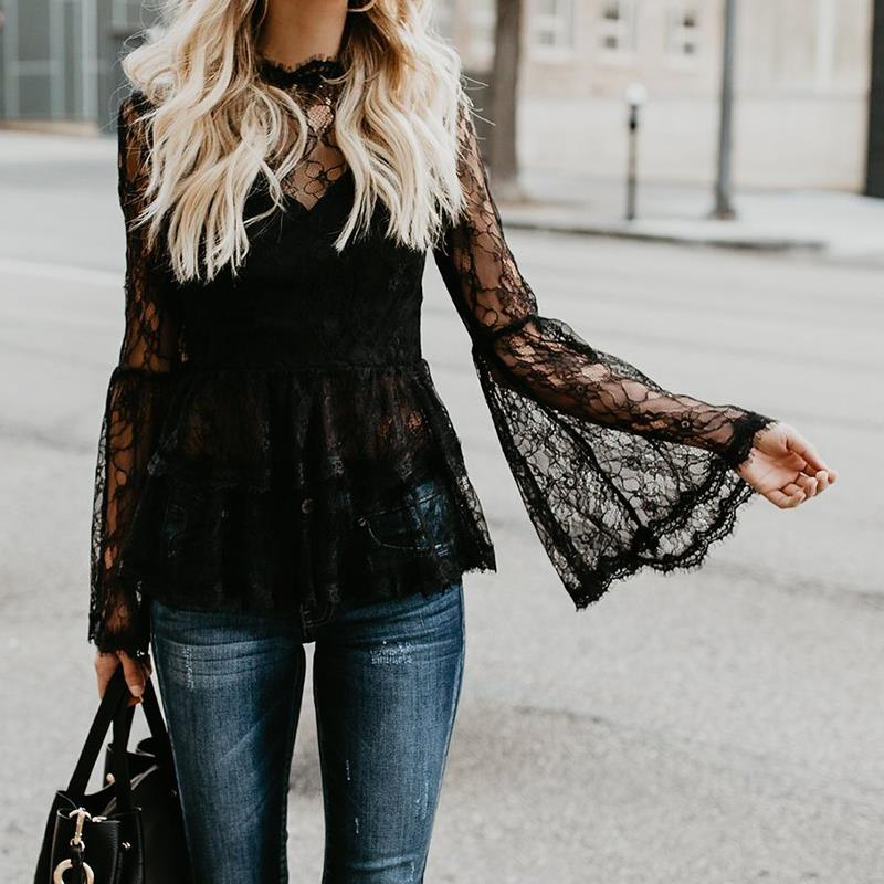 Women Sexy Black Lace Tops 2018 New Fashion Long Sleeves Blouse Shrits Blusas Femininas Female Hollow Out Lace Shirt WS5666O