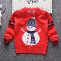2017 Nova Outono Inverno Crianças Meninos Boneco De Neve Camisola De Malha Bebê Camisola Crianças Pullover Camisola do Boneco de neve de Natal Para as crianças