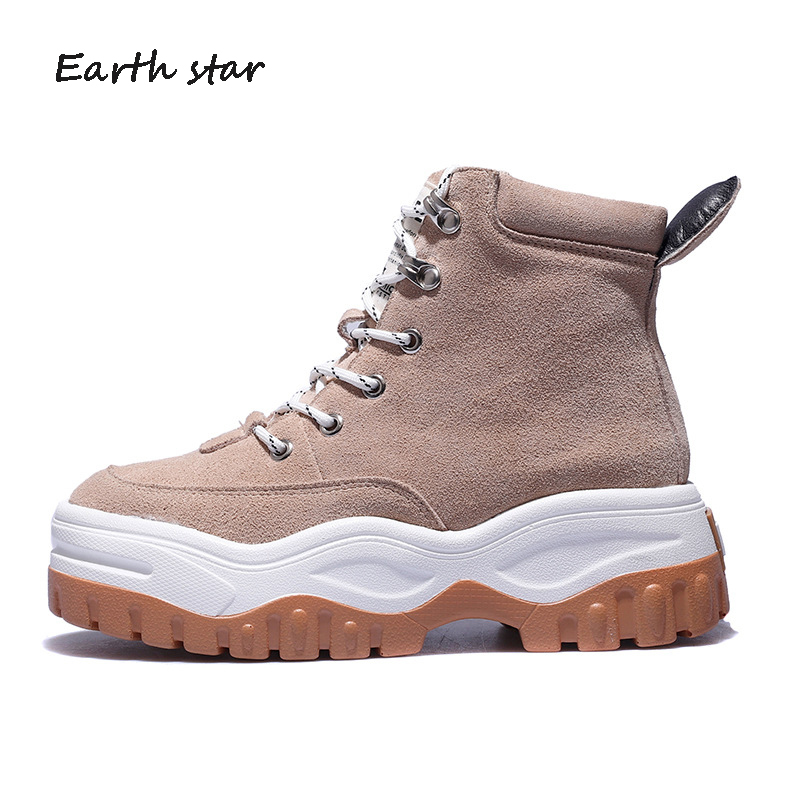 35d1e32ec89 botas mujer Real Leather Casual Shoes Women Fashion Brand Platform Martin  Boots Lady chaussure Autumn New Female footware Camel