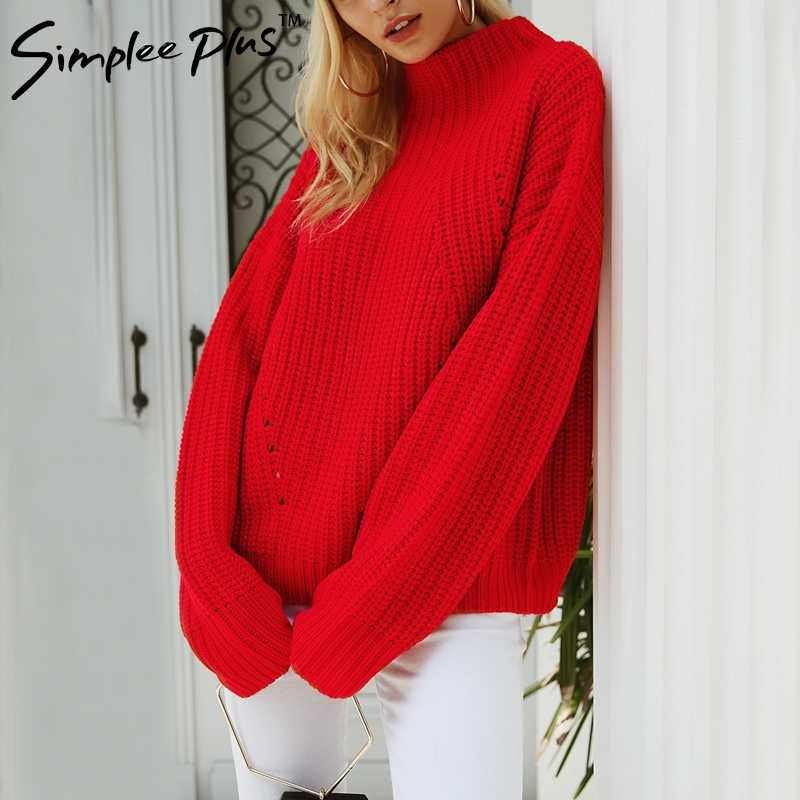 886ecb7240 Simplee Plus Short red knitted winter sweater female Casual warm loose  pullover women Streetwear tricot pull