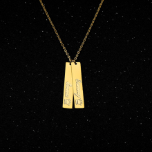 Two Name Necklace Personalised Gold Stainless Steel Engraved Word Letter Square Pendant choker Bijoux Femme Best Gifts