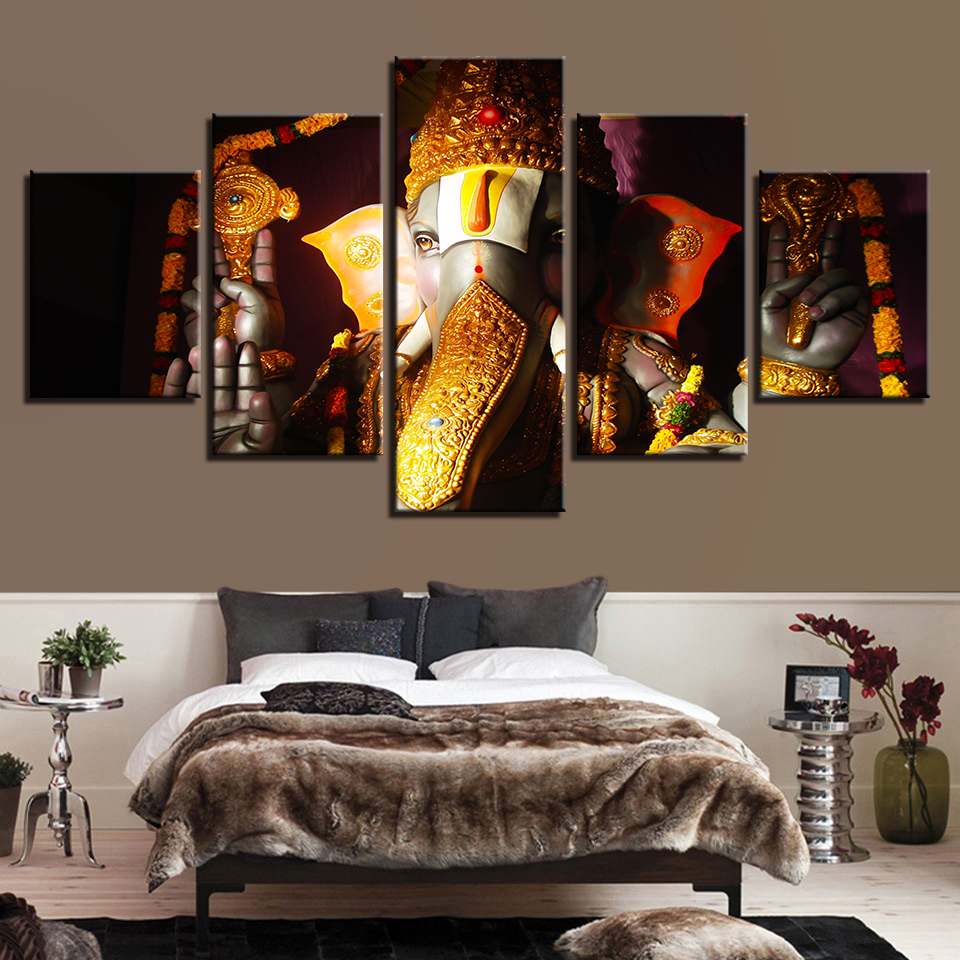 Painting Cuadros Home Decoration 5 Panel Lord Ganesha Canvas Wall Art Modular Elephant Pictures For Living Room Prints Poster